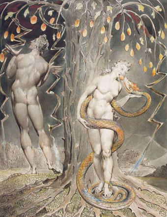 La tentation et la chute d'Eve - William Blake