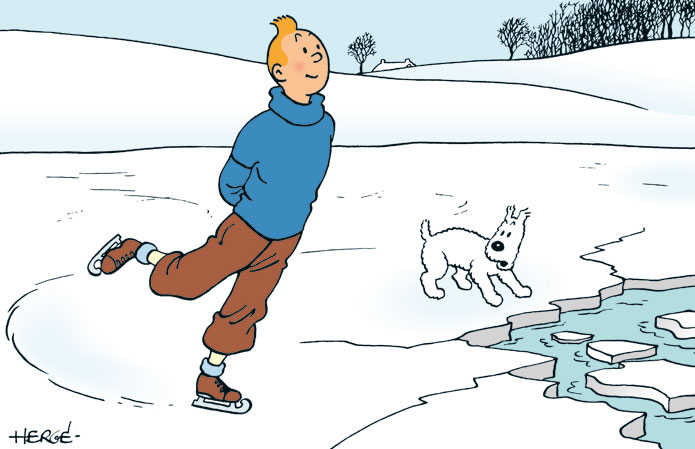 Quand Tintin chausse les patins